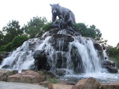 Fountain and sculpture of native Oklahoma black bear and her cubs at BOK Plaza on the River Parks in Tulsa.