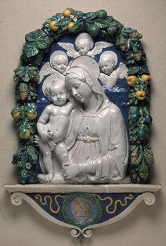Andrea della Robbia (maker), Italian, 1437–1525 Virgin and Child with Putti, ca. 1490–1495 Glazed terracotta relief #francescarossi #restauro #dellarobbia #robbia #ceramica #terrecotte www.rossirestauro.com