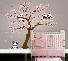 Cherry Blossom Wall Decal Playful Pandas in door InAnInstantArt