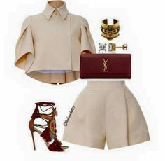 A fashion look from February 2016 featuring Delpozo jackets, Delpozo shorts and sandals. Browse and shop related looks. Classy Outfits, Chic Outfits, Trendy Outfits, Summer Outfits, Fashion Outfits, Womens Fashion, Mode Kawaii, Mode Kpop, Elegantes Outfit