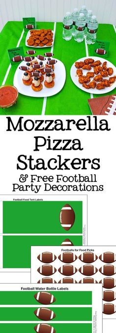 Mozzarella Pizza Stackers Snack - Free Football Party Decorations Printables AD