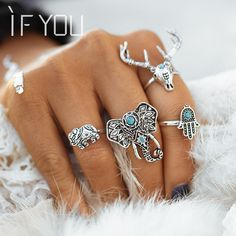 2016NEW  Antique Silver Color Ring Set4pcs/Set Vintage Punk Hollow Lucky Midi Rings for Women Boho Jewelry Knuckl bague vintage
