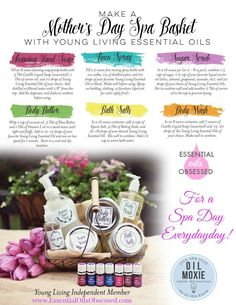 to Make a Mother's Day Spa Basket Recipes for how to make spa products with Young Living Essential Oils.Recipes for how to make spa products with Young Living Essential Oils. Yl Essential Oils, Young Living Essential Oils, Essential Oil Blends, Yl Oils, Diy Mother's Day Spa, Mother's Day Diy, Diy Spa, Mothers Day Spa, Spa Basket