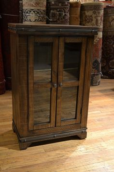 Rustic Reclaimed Solid Wood Curio Cabinet / Bookcase / Wine Cabinet