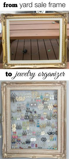 This DIY framed jewelry and earring organizer is created inexpensively from a yardsale frame and chicken wire. Perfect for hanging necklaces or earrings.