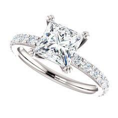Moissanite Engagement Ring| Princess Cut Forever One| 1.70 Carats Moissanite| 18k White Gold| Diamonds| Contemporary Engagement Ring by DKBJewelryDesigns on Etsy https://www.etsy.com/ca/listing/266046385/moissanite-engagement-ring-princess-cut #princesscutring