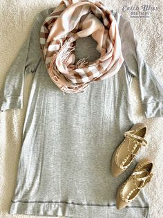 Casual Winter Fashion Outfit. Our Scarlett Dress is essential. This french terry dress is super-soft and cozy. Our Lindley Scarf is a luxe cashmere blend and Tiffany Flats completed the look to this effortless cute winter outfit. Free shipping on orders $50 or more! #outfit