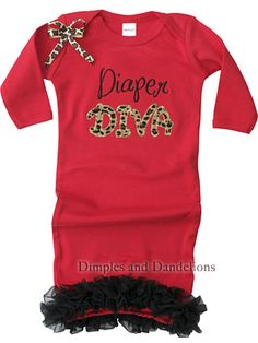 Red Sassy Diaper Diva Gown