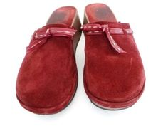 J-CREW-BURGUNDY-WINE-SUEDE-LEATHER-MULES-WOOD-CLOGS-WEDGE-DRESS-SHOES-WOMENS-8