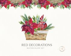 Scarlet Red Flower Clipart, Red Poinsettia Bouquets, Christmas Watercolor Clip Art,  christmas arrangements, Holiday floral. DIY, basket by KoelschArtLab on Etsy Christmas Clipart, Red Christmas, Holiday, Meadow Flowers, Red Flowers, Watercolor Clipart, Poinsettia Flower, Christmas Arrangements, Creative Photoshop