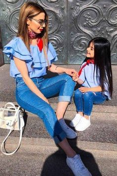 Mother and Daughter Matching Outfit Ideas picture 6 Mom Daughter Matching Outfits, Mommy And Me Outfits, Matching Family Outfits, Girl Outfits, Fashion Kids, Baby Girl Fashion, Toddler Fashion, Mother Daughter Fashion, Stylish Kids