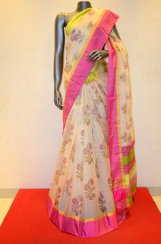 Gorgeous Pure Chanderi Tussar Silk With Double Contrast Border Product Code: AB207104  Online Shopping: http://www.janardhanasilk.com/Saree-Collections/Tussar-Silk-Saree?product_id=3636&limit=25