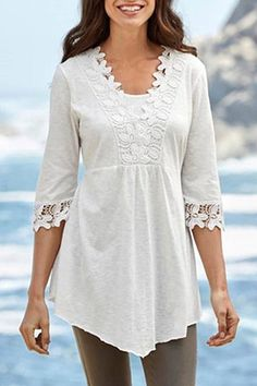 Lace-paneled irregular T-shirt #paneled, #spon, #Lace, #shirt, #irregular #Adver