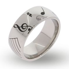 The Musical Notes Engraved Message Band is perfect for music lovers! The ring features a variety of musical symbols including the bass & treble clefs. Music Rings, Music Jewelry, Band Rings, Jewelry Rings, Engraved Jewelry, Engraved Rings, Couple Jewelry, Stainless Steel Rings, Music Notes