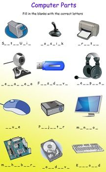 Computer Parts - fill in the blanks by Smart Mindz Teaching Computer Skills, Computer Lab Lessons, Kids Computer, Computer Teacher, Teaching Computers, School Computers, Computer Basics, Computer Class, Computer Technology