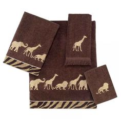 Improve your bathroom's appearance and functionality with this attractive Avanti four-piece towel set. Ideal for integrating personality into any decor, this soft towel set features embellishments of animal parades in warm tones of brown and beige.