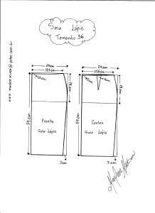 Esquema de Modelagem de Saia Lápiis tamanho 36.