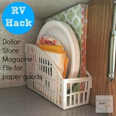 Then use magazine files to hold your placemats and paper goods. | 15 Smart Dollar Store Ideas To Declutter Your Kitchen