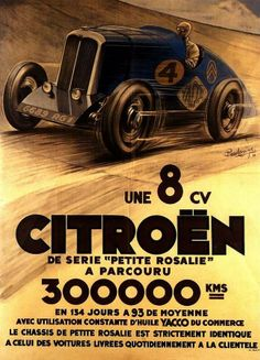 "Citroen sets a distance record in 1933 ~ The ""Petite Rosalie"", a 1.4 litre 4 cylinder Citroen 8CV, set a world distance record of 300,000 km while averaging 93km / hr circling the Montlhéry circuit in Paris, France. The endurance run took 134 days to complete, and was co-sponsored by the Yacco Motor Oil company. #Citroen #8CV #PetiteRosalie"