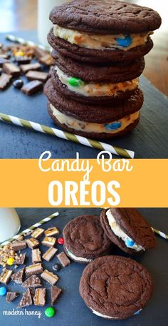 Candy Bar Oreos. Homemade soft chocolate cookies stuffed with sweet cream cheese filling and chocolate candy bars. The most decadent and popular homemade oreo cookies. www.modernhoney.com