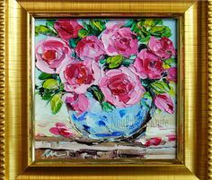 Rose Still Life Oil Painting Small Original by NuuPaletteKnife
