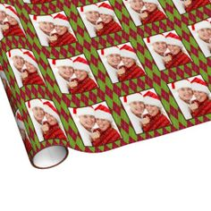 Red green argyle pattern custom photo holiday gift wrap paper
