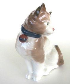 Nao by Lladro Sitting Cat Figurine от fatcatvintage на Etsy