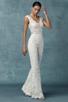Wedding Dress out of Maggie Sottero - Milan Wedding Robe, Wedding Pantsuit, Wedding Attire, Wedding Gowns, Wedding Reception Dresses, Civil Wedding Dresses, Wedding Outfits, Womens Wedding Suits, Formal Dresses