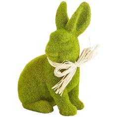 Pier 1 Imports Green Sitting Moss Bunny ($16) ❤ liked on Polyvore featuring home, home decor, holiday decorations, easter, green, rabbit home decor, pier 1 imports, camo home decor, handmade home decor and easter home decor