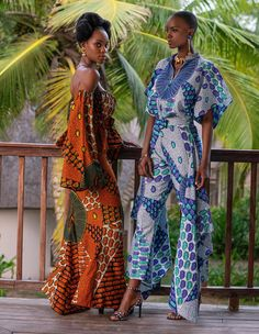 CLASSIC REBORN Past meets present with two outfits cut from the same timeless Wax Hollandais. Look by Zak Koné's (Design label Pelebe). African Inspired Fashion, African Print Fashion, Fashion Prints, Fashion Design, African Print Dresses, African Fashion Dresses, African Dress, African Attire, African Wear