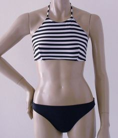 Love this bikini stop style. I don't need any more sun on my chest, like, ever! Black and White Stripe High Neck Halter Two Piece Swimsuit in S.M.L.XL. $80.00, via Etsy.