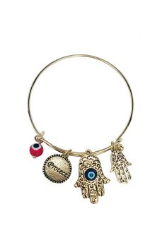 This antique gold bracelet features Hamsa pendants. Dress this up or down. Perfect for layering with other accessories. One size fits most.  Gold Hamsa Bracelet by Glam Squad Shop. Accessories - Jewelry - Bracelets Las Vegas