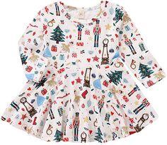 Amazon.com  Hatoys Christmas Baby Girl Tree Long Sleeve Cartoon Print  Christmas Princess Dresses 4246e1651
