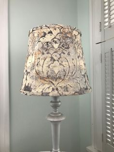 Damask Lamp Shade, Gray Damask Lamp Shade, Gray Lamp Shade, Eclectic Lamp Shade, FREE SHIPPING - Continental USA