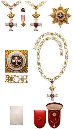 Breast Star, Miniature, Rosette and Collar of the Order pro Merito Melitensi (Civil Class), awarded only to Heads of State. #OrderofMalta #SMOM #proMeritoMelitensi