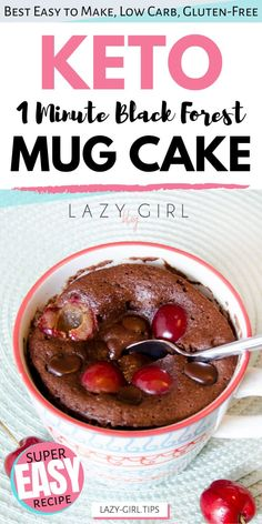 This black forest Keto mug cake is an easy and moist black forest mini cake with all the cherry, chocolatey goodness of the traditional version. It's also gluten-free and dairy-free. The best part, this mini keto black forest cake takes no more than 10 minutes, start to finish. #ketomugcake #ketodessert #ketochocolate #blackforestcake Chocolate Mug Cakes, Sugar Free Chocolate, Chocolate Recipes, Chocolate Chips, No Carb Recipes, Healthy Dessert Recipes, Cake Recipes, Diabetic Snacks, Steak Recipes