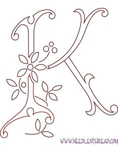 Monogram for Hand Embroidery: The Letter K - *from La Broderie Blanche Hand Embroidery Letters, Embroidery Patterns Free, Hand Embroidery Designs, Ribbon Embroidery, Cross Stitch Embroidery, Machine Embroidery, Embroidery Thread, Letter K, Letter Patterns