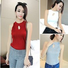 Link:bit.ly/1Rf4BKc #2016Spring Women Knitted Casual #Turtleneckvest #SleevelessVest Bust Hollow Sexy Slim #Sweaters One Size Wine Red. #wishapp