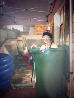 Heather Moyse No bath tubs in the Mountain Village... So just chillin' in a garbage bin doing a hot Epsom salt 'bath'! #NoExcuses #Sochi