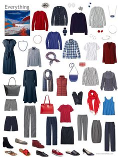 capsule wardrobe in navy and grey with shades of red and blue