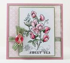 A #Stampendous Sweet Pea Card by melindagleiss, via Flickr - @Melinda Gleissner scores again with her soft, beautiful coloring of this delicate flower.