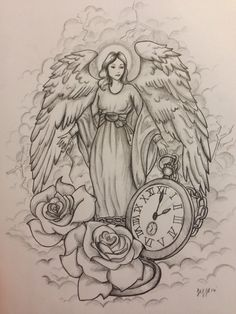 Guardian angel tattoo design, commission by Jeffica Alice.