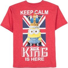 Minions Boys' King Me Graphic Tee, Size: L (10/12), Red