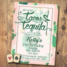 Pink Cactus Birthday Invitation Printable Baby Cinco De Mayo Party Tacos And Tequila 1st Mexican