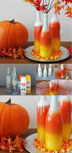 Perfect for Halloween! Choose spray can colors according to the holiday – orange, yellow and white, and paint one by one, allowing each to dry completely and letting it blend with the next one. Start with white, go on to yellow and orange, and finish with white and top off with a few autumn branches!