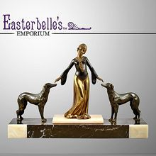 """Art Deco ca 1930's  Signed """"The Odalisque & Hounds"""" Spelter and Marble Statue"""