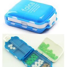 2016 New Arrived Folding Vitamin Medicine Drug Pill Box Makeup Storage Case Container Tool Health Blue Orange Color Useful | #StorageContainers