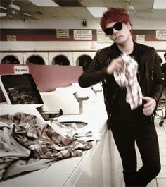 *Does his laundry but in a punk way* (Pun intended)