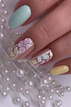 30 Perfect Bridal Nails Art Designs ❤ bridal nails trendy pastel colors and fl. Nail Art Designs, Bridal Nails Designs, Bridal Nail Art, Flower Nail Designs, Pastel Nails, Acrylic Nails, Cute Nails, My Nails, Nail Art Halloween