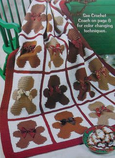 Crochet Pattern Only ~ Gingerbread Man Afghan ~ Christmas Decor, Holiday